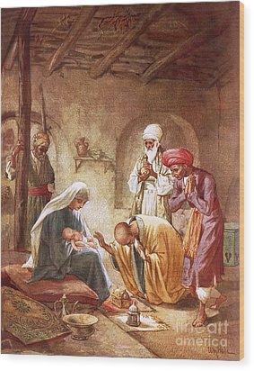 Three Kings Worship Christ Wood Print by William Brassey Hole