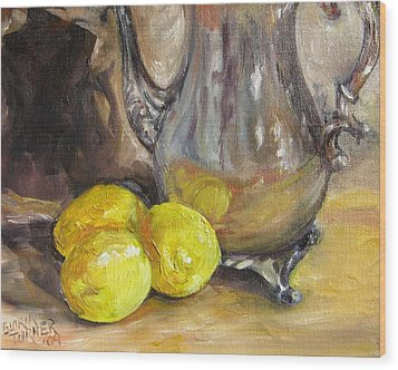 Wood Print featuring the painting Three Lemons by Gloria Turner