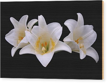 Wood Print featuring the photograph Three Lilies by Andy Lawless