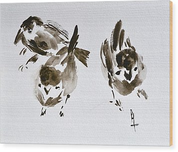 Three Little Birds Perch By My Doorstep Wood Print