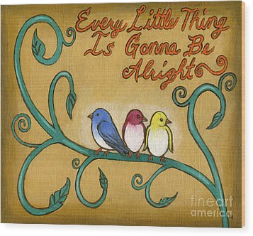Three Little Birds Wood Print by Roz Abellera Art