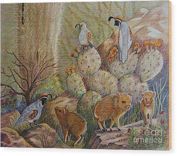 Three Little Javelinas Wood Print by Marilyn Smith