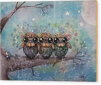 Three Little Night Owls Wood Print by Karin Taylor