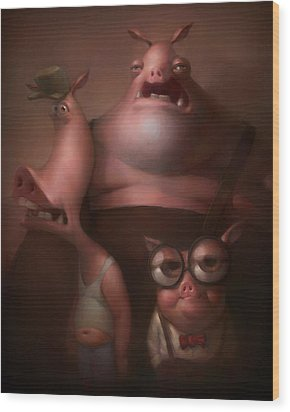 Three Little Pigs Wood Print