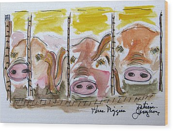 Wood Print featuring the painting Three Little Pigs by Patricia Januszkiewicz