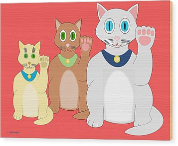 Three Lucky Cats Wood Print