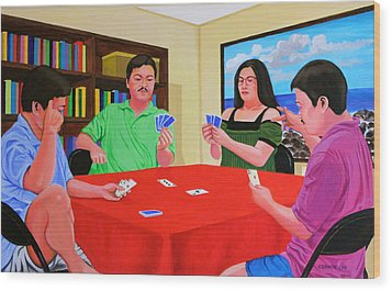Three Men And A Lady Playing Cards Wood Print by Cyril Maza