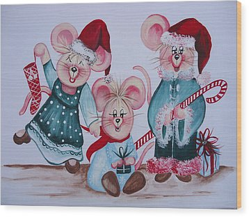 Wood Print featuring the painting Three Merry Mice by Leslie Manley