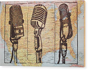 Three Microphones On Map Wood Print by William Cauthern