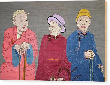 Three Mongolians Wood Print by Leslie Rinchen-Wongmo