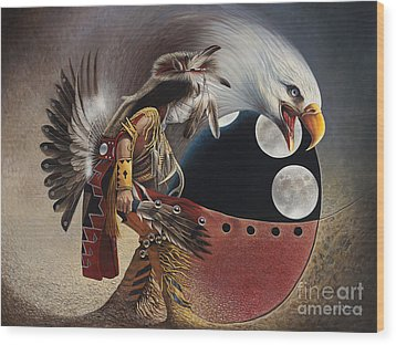 Three Moon Eagle Wood Print by Ricardo Chavez-Mendez
