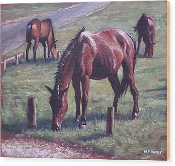 Three New Forest Horses On Grass Wood Print by Martin Davey