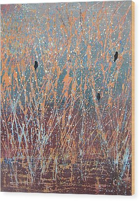 Wood Print featuring the painting Three Of A Kind by Suzanne Theis