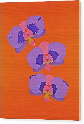 Three Orchids Wood Print by Michele Myers