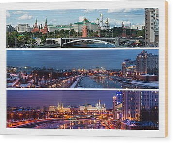 Three Panoramas Of Moscow Kremlin - Featured 3 Wood Print by Alexander Senin