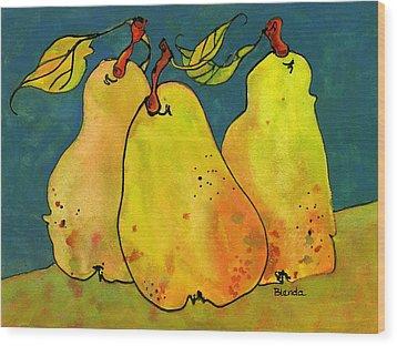Three Pears Art  Wood Print by Blenda Studio
