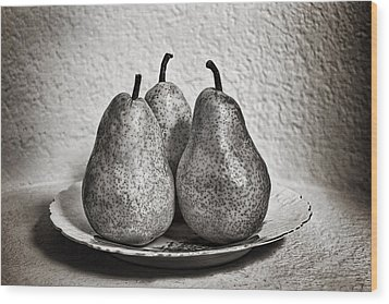 Three Pears On A Plate Wood Print by James David Phenicie