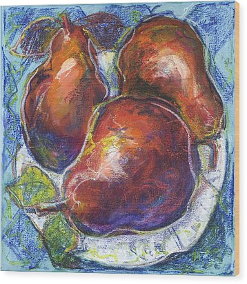 Three Pears On A White Plate Wood Print