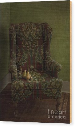 Three Pears Sitting In A Wing Chair Wood Print by Priska Wettstein