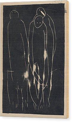 Three People Wood Print