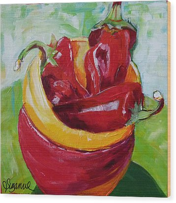 Three Peppers Wood Print by Suzanne Willis