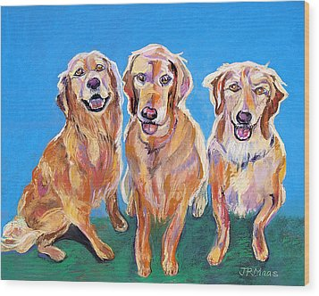 Wood Print featuring the pastel Three Playful Goldens by Julie Maas