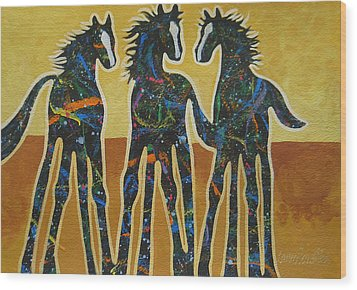 Three Ponies Wood Print by Lance Headlee