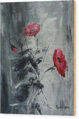 Three Poppies Wood Print by Maria Karalyos