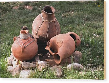 Three Pots Wood Print by Claudette Bujold-Poirier