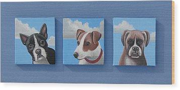 Three Pups Wood Print by Stuart Swartz
