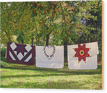Three Quilts Wood Print