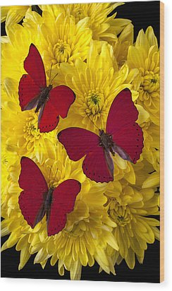 Three Red Butterflys Wood Print by Garry Gay