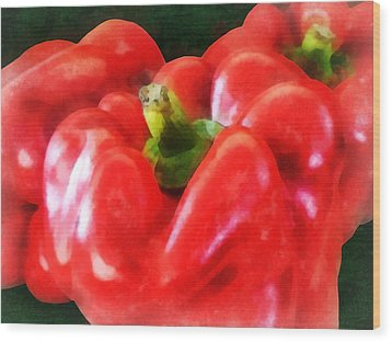 Three Red Peppers Wood Print by Susan Savad