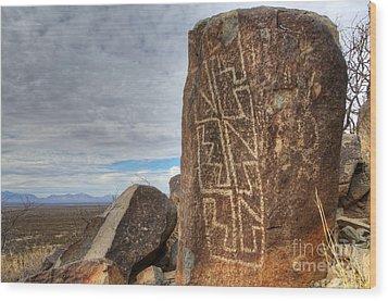 Three Rivers Petroglyphs 4 Wood Print by Bob Christopher