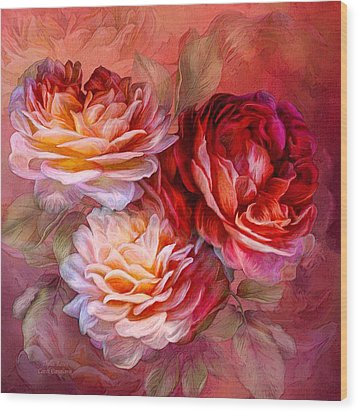 Wood Print featuring the mixed media Three Roses - Red by Carol Cavalaris