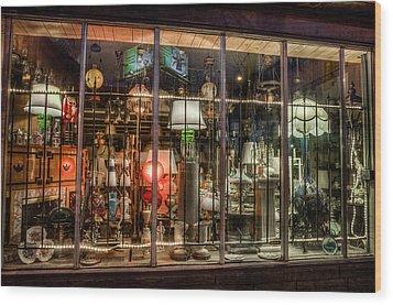 Three Shade Lamp Store Wood Print by Mark Goodman