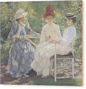 Three Sisters-a Study In June Sunlight Wood Print by Edmund Charles Tarbell