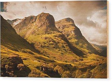 Three Sisters. Glencoe. Scotland Wood Print by Jenny Rainbow