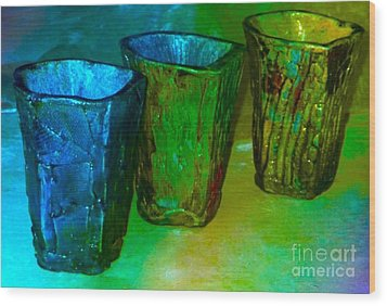 Three Smoke Fired Vases Wood Print by Joan-Violet Stretch