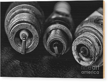 Three Spark Plugs Black And White Wood Print by Wilma  Birdwell