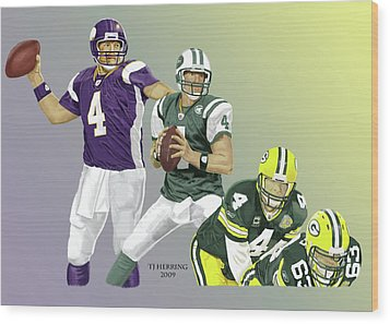 Wood Print featuring the digital art Three Stages Of Bret Favre by Thomas J Herring