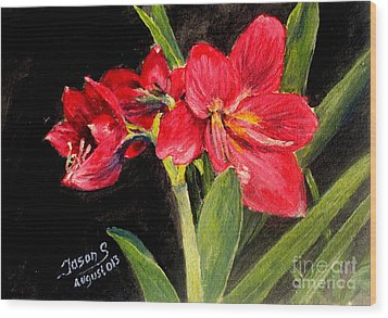 Wood Print featuring the painting Three Stalks Of Lilies Blooming by Jason Sentuf