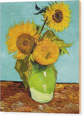 Three Sunflowers In A Vase Wood Print by Vincent Van Gogh
