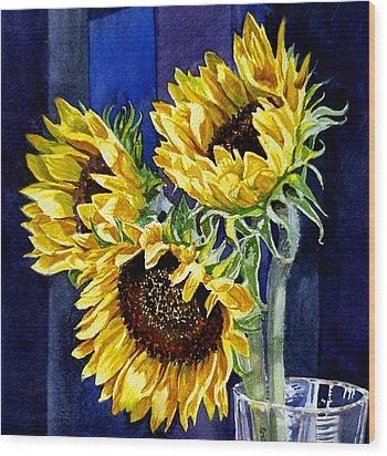 Three Sunny Flowers Wood Print by Irina Sztukowski