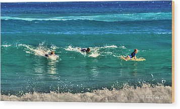 Wood Print featuring the pyrography Three Surfers And Blue Water by Julis Simo