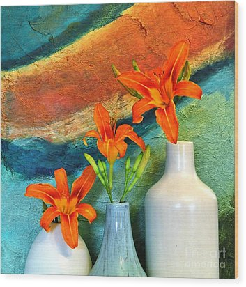 Three Tigerlilies In A Vase Wood Print by Marsha Heiken