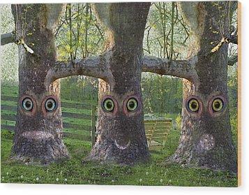 Three Trees Wood Print by Betsy Knapp