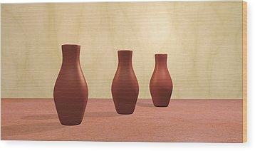 Wood Print featuring the digital art Three Vases by Gabiw Art