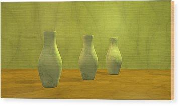 Wood Print featuring the digital art Three Vases II by Gabiw Art