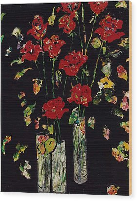Three Vases With Roses Wood Print